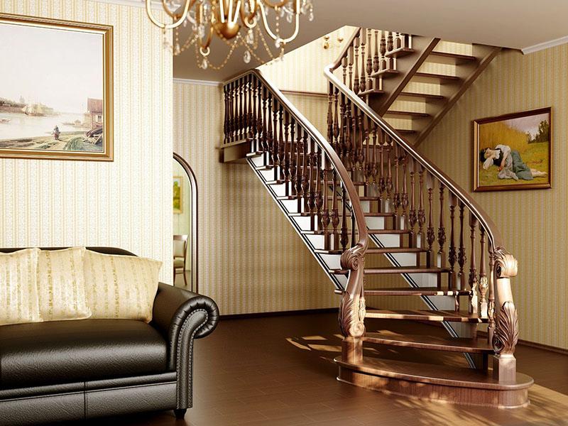 Деревянная лестница под ключ D 1007