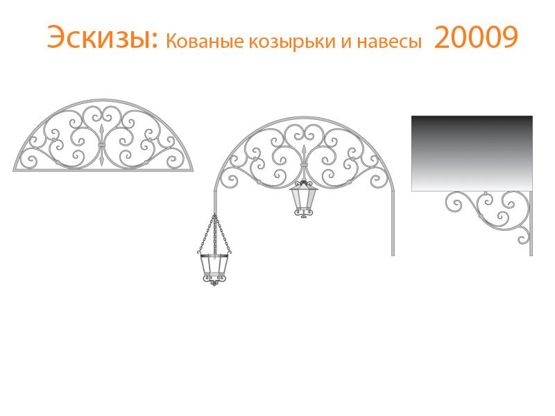 Кованые козырьки и навесы эскизы N 20009