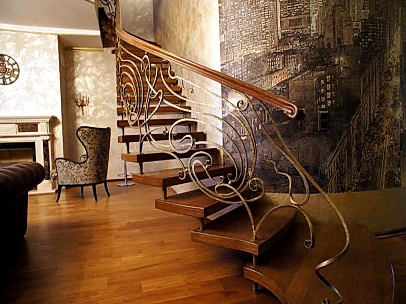 Кованая каркасная лестница N 3-4034