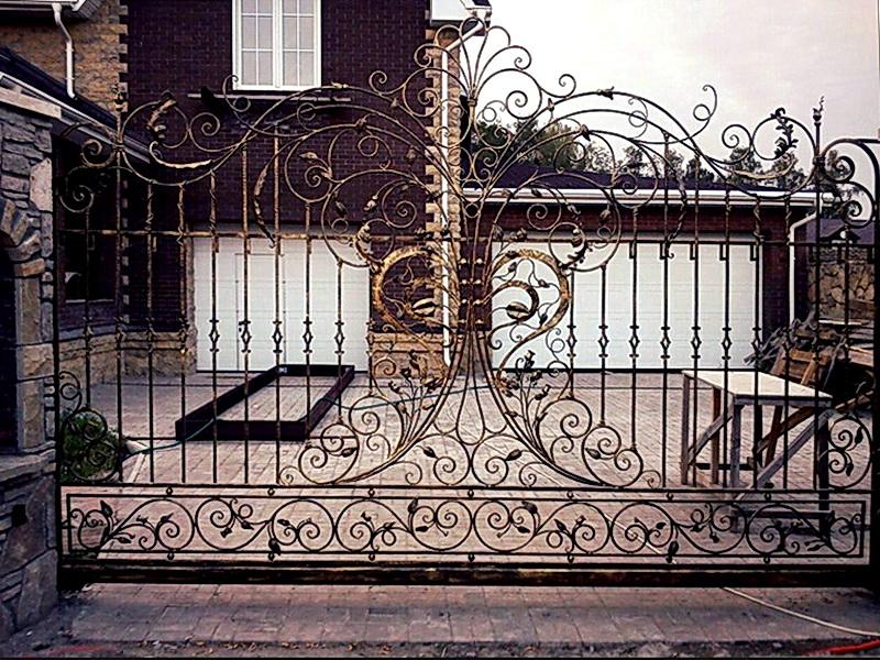 Кованые откатные ворота N 1-1003