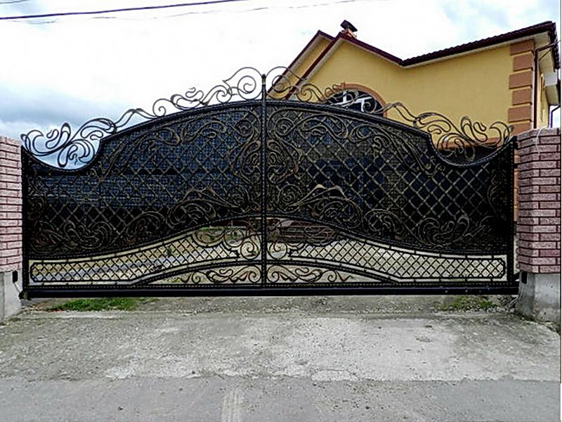Кованые откатные ворота N 1-1008
