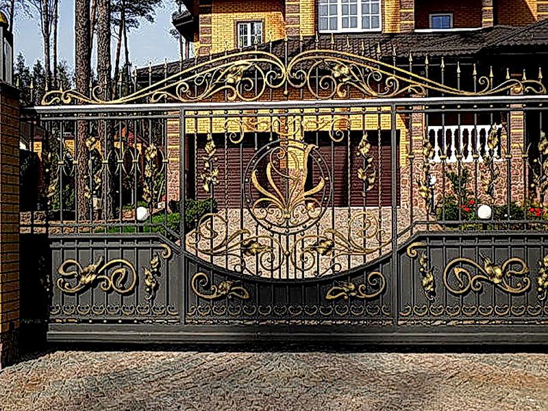 Кованые откатные ворота N 1-1009