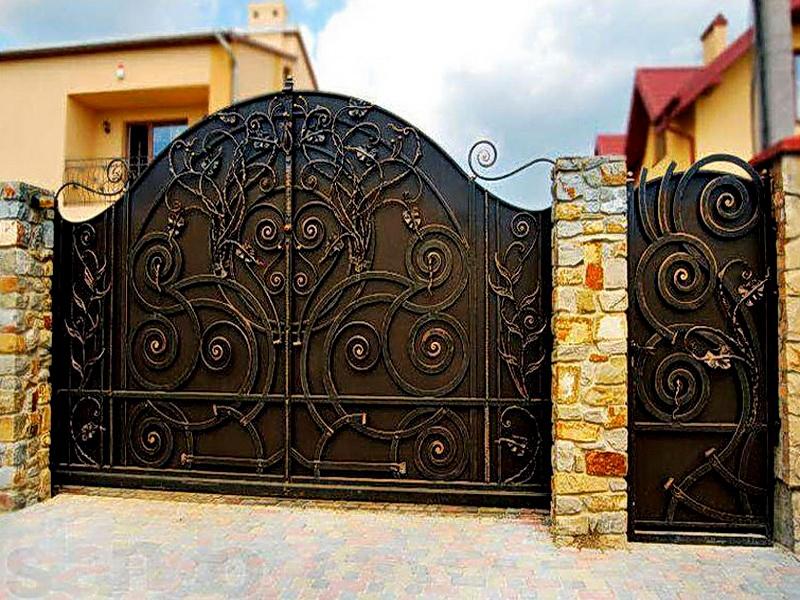 Кованые откатные ворота N 1-1011