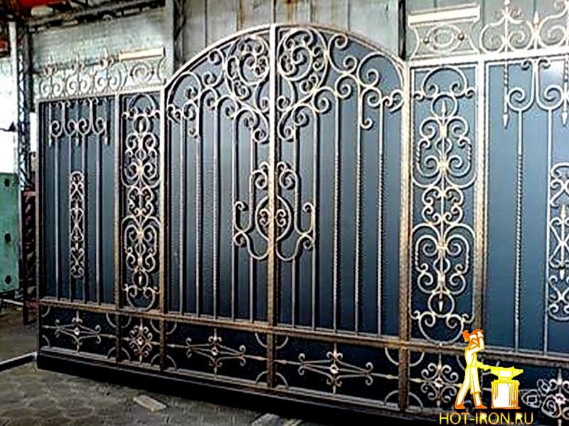 Кованые откатные ворота N 1-1013