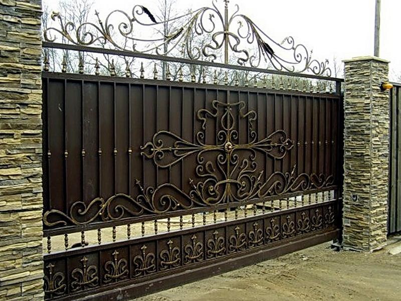 Кованые откатные ворота N 1-1014