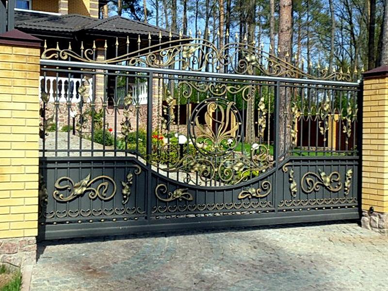Кованые откатные ворота N 1-1015