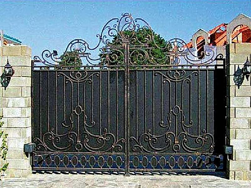 Кованые откатные ворота N 1-1016
