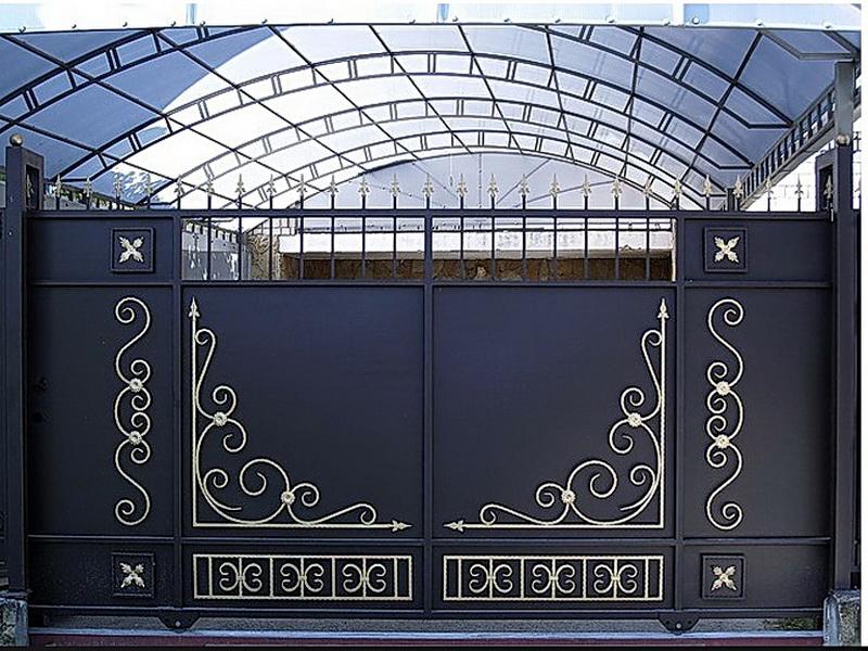 Кованые откатные ворота N 1-1017
