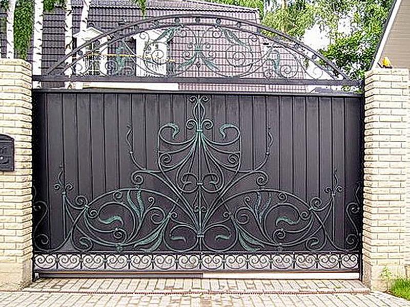 Кованые откатные ворота N 1-1020