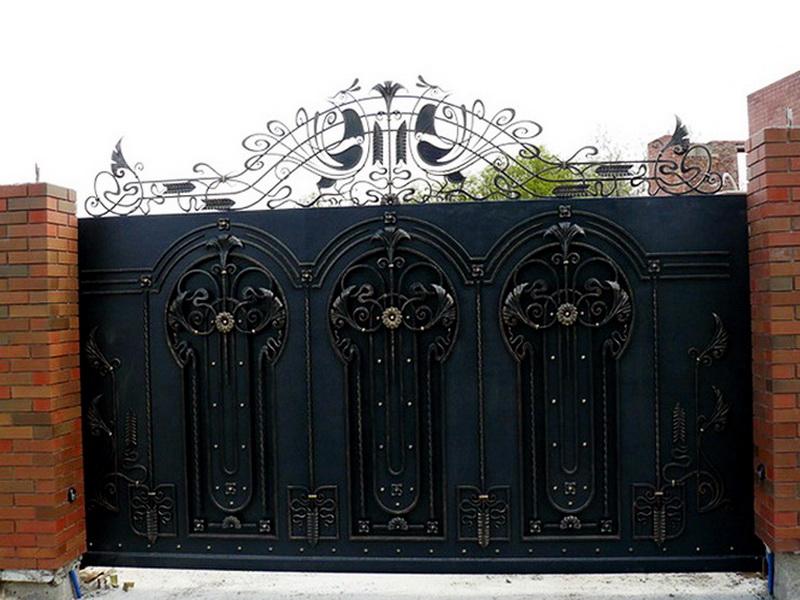 Кованые откатные ворота N 1-1021