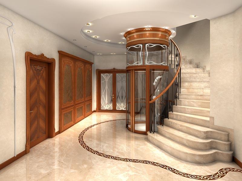 Лестница из камня с элементами ковки К 1032