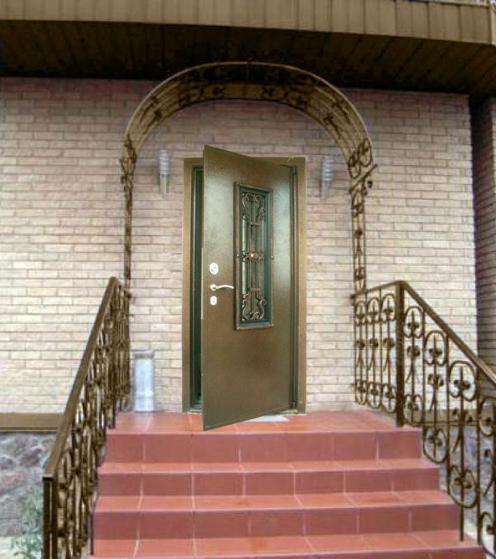 двойные железные двери с ковкой в частный дом